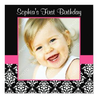 Pink Black Damask Girls Photo 1st Birthday Party Card