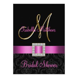 Pink Black Damask Gold Initial Bridal Shower Card
