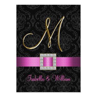 Pink Black Damask Gold Initial M Wedding Invite