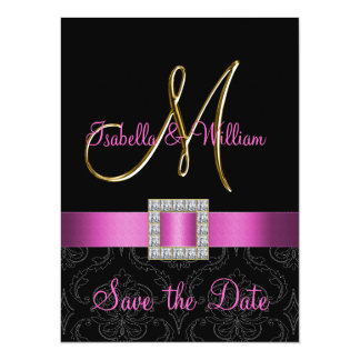 Pink Black Damask Gold Initial Save the Date 5.5x7.5 Paper Invitation Card