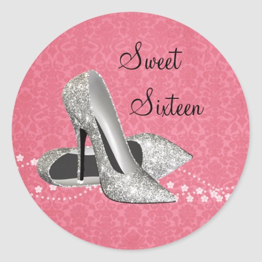 pink damask glitter high heel shoes stickers zazzle
