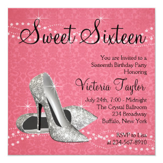 Pink Black Damask High Heels Sweet 16 Party Personalized Invites