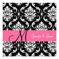 Pink Black Damask Initial 2013 Wedding Invitation
