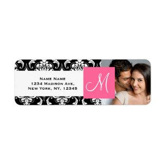 Pink Black Damask Monogram Engagement Photo Return Address Label
