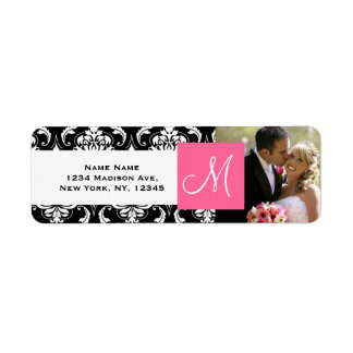 Pink Black Damask Monogram Photo Wedding Return Address Label