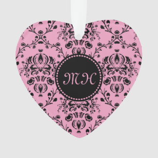 Pink Black Damask Monogrammed Girly Elegant Classy Ornament