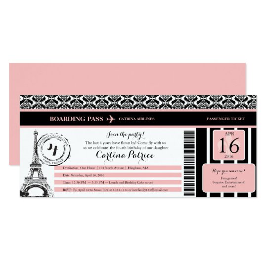 Pink Black Damask Paris Birthday Boarding Pass Invitation Zazzle Com