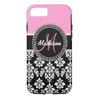 Pink Black Damask Pattern Monogram iPhone 7 Case
