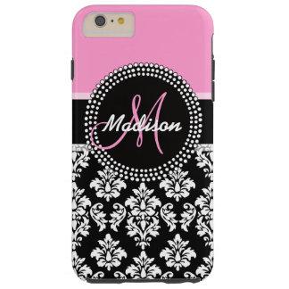 Pink Black Damask Pattern Monogram Tough iPhone 6 Plus Case