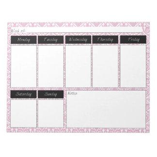 Pink & Black Damask Pattern Weekly Pattern Notepad
