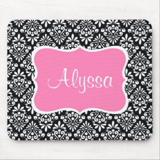 Pink Black Damask Personalized Mouse Pad. Mouse Pad