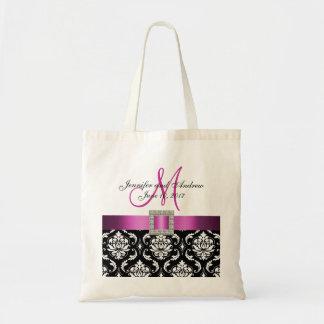 Pink, Black Damask Personalized Wedding Tote Bag