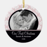 Pink & Black Damask Photo First Christmas Ornament