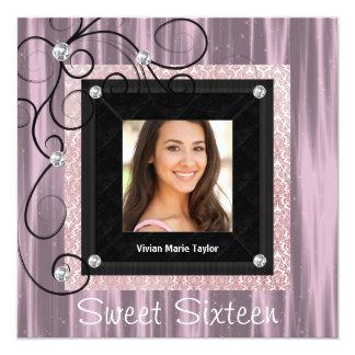 Pink Black Damask Photo Sweet 16 Party Card