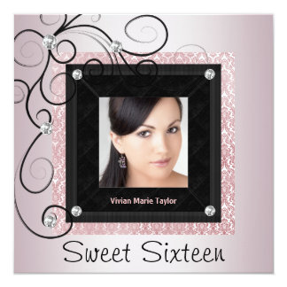 """Pink Black Damask Photo Sweet 16 Party 5.25"""" Square Invitation Card"""