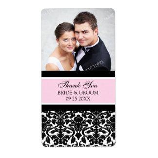 Pink Black Damask Photo Wedding Labels