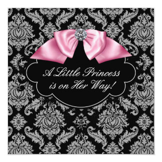 Pink Black Damask Princess Baby Girl Shower Card