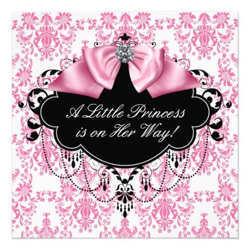Pink Black Damask Princess Baby Shower Invites
