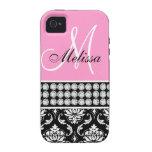 Pink Black Damask Printed Diamonds iPhone 4 Case
