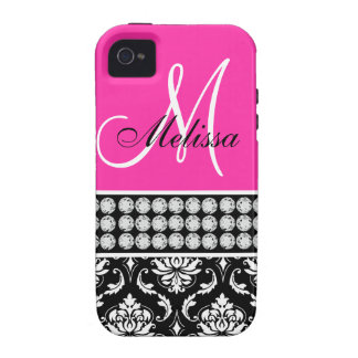 Pink, Black Damask Printed Diamonds iPhone 4 Case