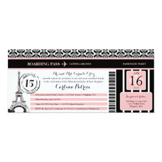 Pink Black Damask Quinceanera Paris Boarding Pass Card