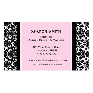 Pink Black Damask Retro Mom Calling Cards Double-Sided Standard Business Cards (Pack Of 100)