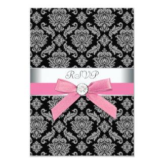 Pink Black Damask RSVP Card