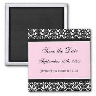 Pink Black Damask Save the Date Magnet