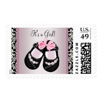 Pink Black Damask Shoes Baby Girl Postage Stamps