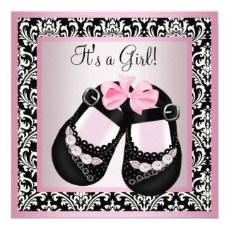 Pink Black Damask Shoes Baby Girl Shower Card