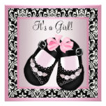 Pink Black Damask Shoes Baby Girl Shower Personalized Announcements