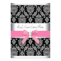 """Pink Black Damask Sweet 16 Birthday Party 5.25"""" Square Invitation Card"""