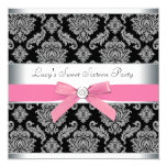 Pink Black Damask Sweet 16 Birthday Party Invitations