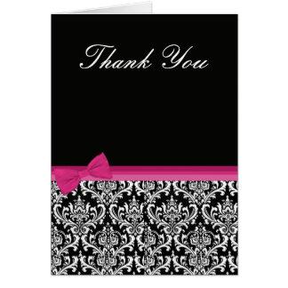 Pink & Black Damask Thank You Card