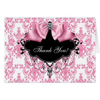 Pink Black Damask Thank You Cards