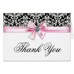Pink Black Damask Thank You Cards Note Card