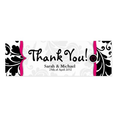 Pink black damask Wedding favor Gift tag Business Cards by Cards by Cathy