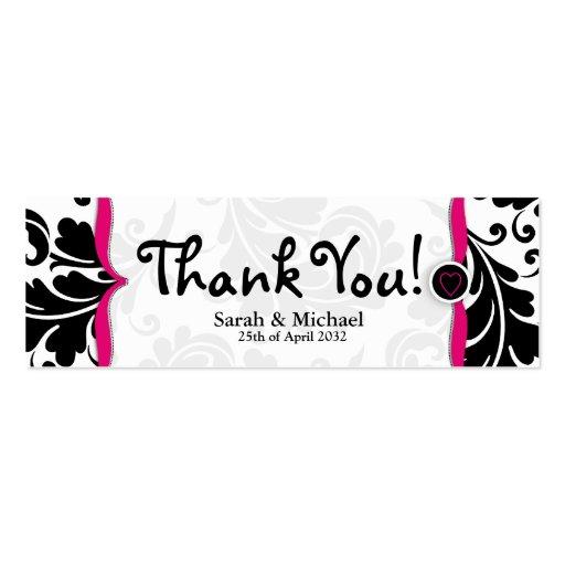 Pink & black damask Wedding favor Gift tag Business Cards