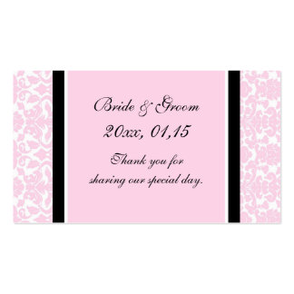 Pink Black Damask Wedding Favor Tags Double-Sided Standard Business Cards (Pack Of 100)