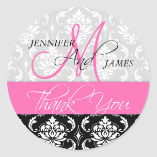 Pink Black Damask Wedding Favor Thank You Sticker