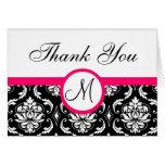 Pink Black Damask Wedding Monogram Thank You Card