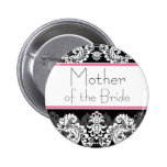 Pink & Black Damask Wedding Party Button
