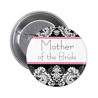 Pink & Black Damask Wedding Party Button