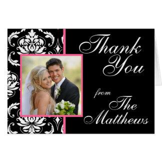 Pink Black Damask Wedding Photo Thank You Greeting Card