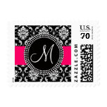 Pink Black Damask Wedding Postage | Monogram