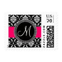 Pink Black Damask Wedding Postage | Monogram