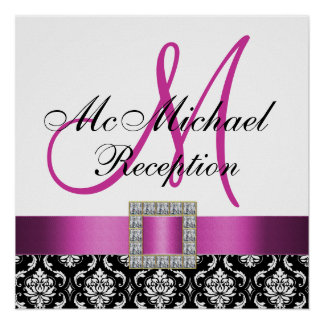 Pink Black Damask Wedding Reception Sign