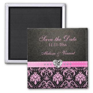 Pink & Black Damask Wedding Save the Date Refrigerator Magnet