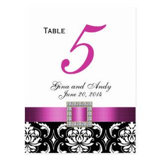 Pink, Black Damask Wedding Table Number Card