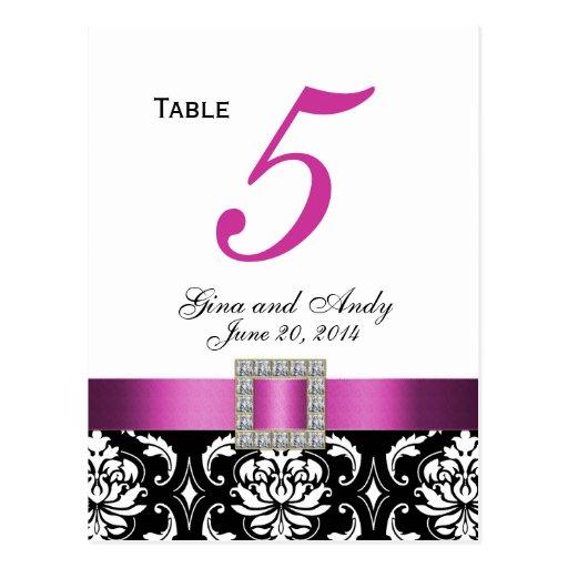 Pink, Black Damask Wedding Table Number Card Post Card
